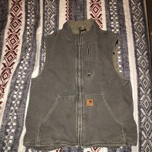 Gray Sherpa-Lined Mock-Neck Carhartt Vest